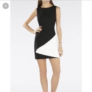 Bcbgmaxazaria black and white tailored dress